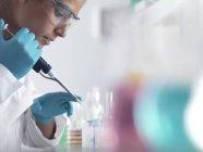 Scientifique pipettant l'échantillon dans des tubes de micro-centrifugeuse prêts pour l'analyse automatisée . — Photo de stock