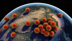 Global spread of coronaviruses, conceptual computer illustration — Stock Photo
