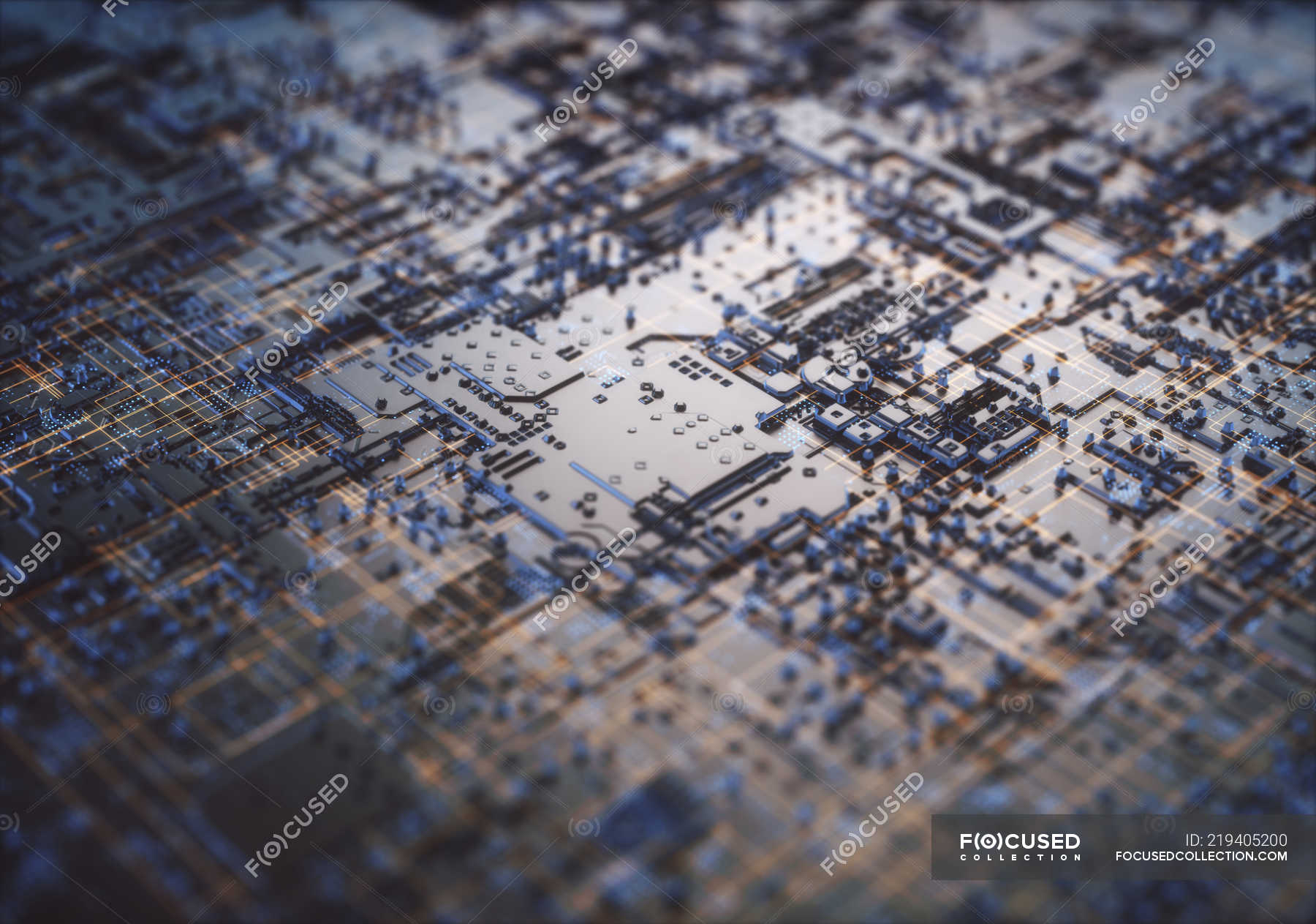 Abstract microchip technological structure, illustration