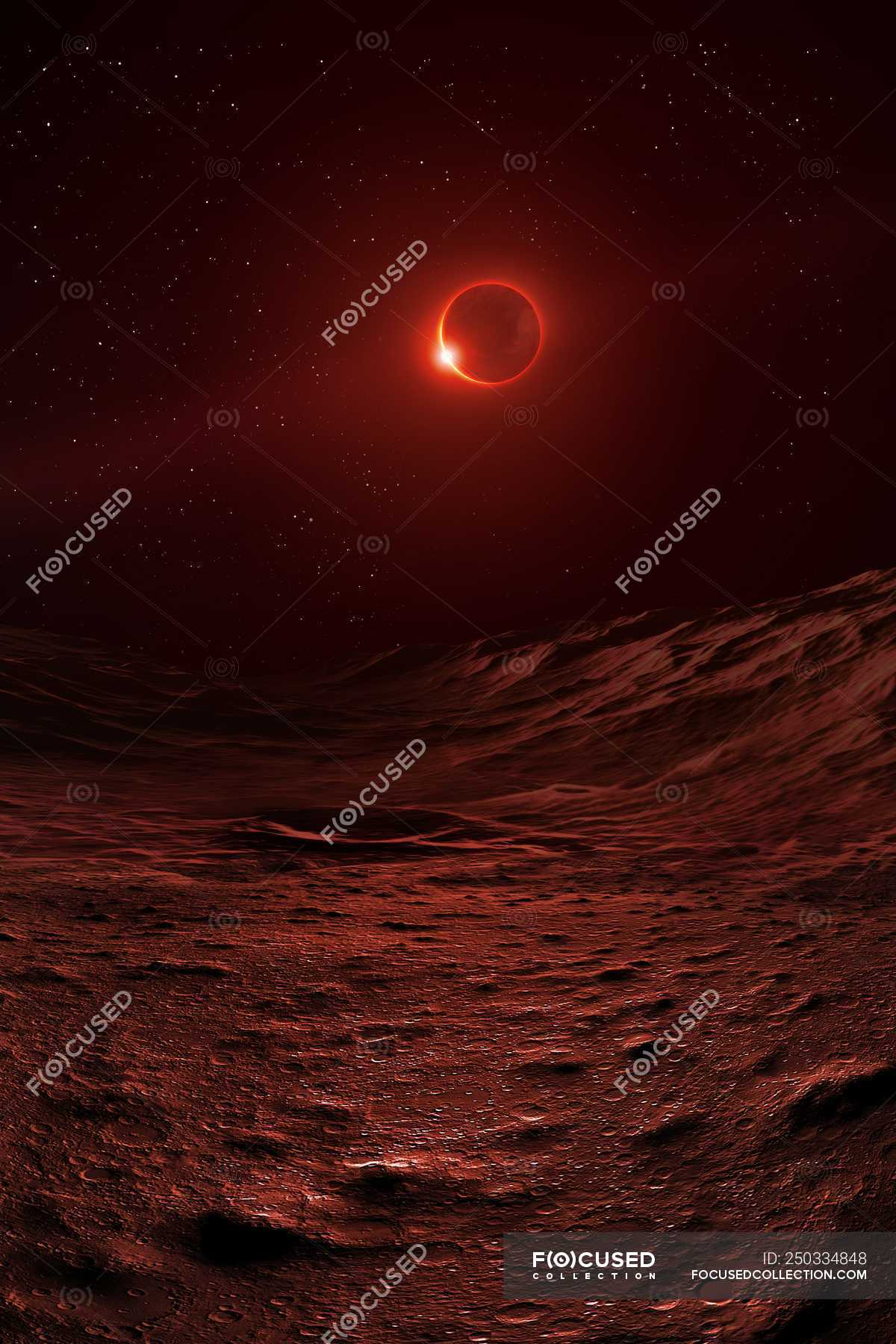 Surface Of Moon During Lunar Eclipse Sun Passing Behind Earth Illuminating Atmosphere In Eerie Red And Staining Lunar Landscape Craters Illustration Stock Photo 250334848
