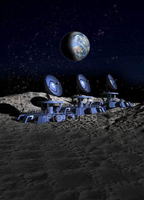 Conceptual digital artwork of array of satellites on Moon surface. — Stock Photo