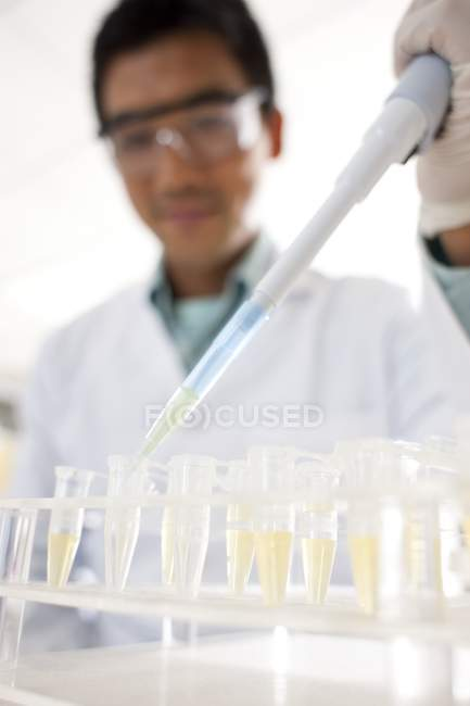 Close-up of male scientist pipetting into test tubes. — Stock Photo