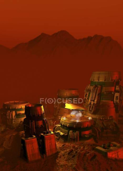 Martian colony on planet surface, digital artwork. — Stock Photo