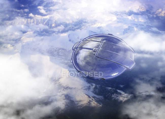 Conceptual digital artwork of alien craft in clouds. — Stock Photo