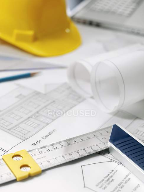 Set square on architectural drawings. — Stock Photo