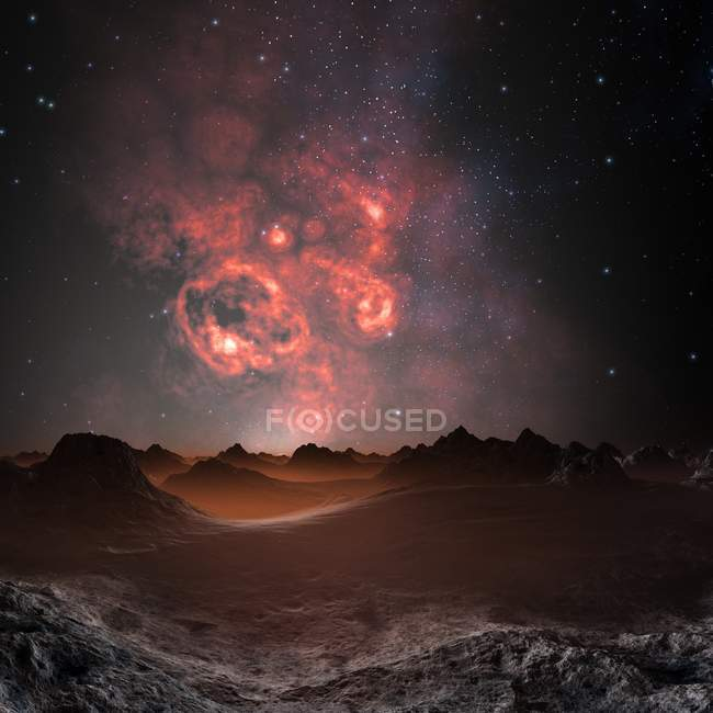 Nebula seen from alien planet — Stock Photo