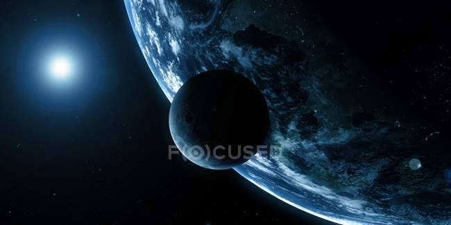 Visual rendering of Earth and Moon — Stock Photo