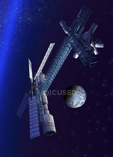 Футуристичний космічної станції на орбіті землі — стокове фото