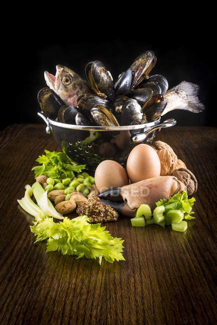 Still life of food ingredients on table. — Stock Photo