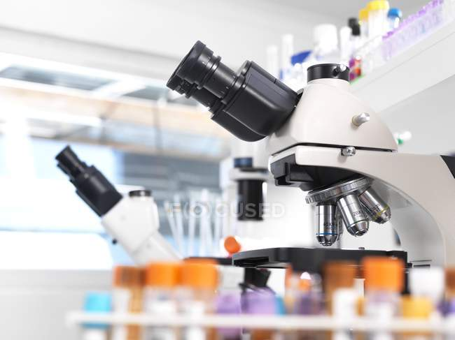 Medical testing microscopes and equipment in laboratory. — Stock Photo