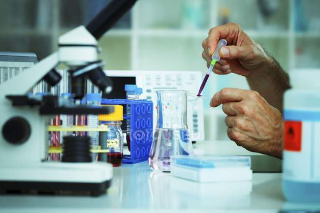 Cropped view of scientist hands pipetting sample for biological research. — Stock Photo