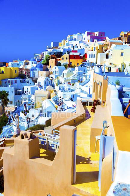 View of colorful traditional houses, Santorini, Greece. — Stock Photo