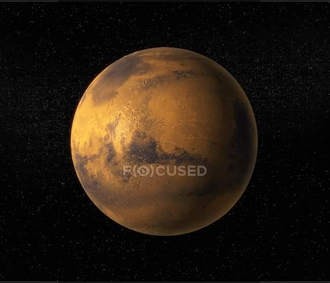 Computer artwork of Mars on black background. — Stock Photo