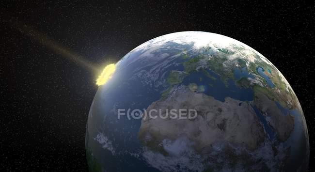 Метеор впливають землі, ілюстрації комп'ютерні. — стокове фото