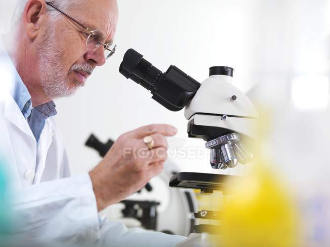 Mature scientist using microscope for biological research. — Stock Photo