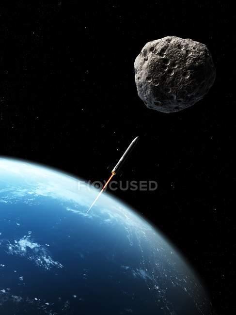Misil de defensa de asteroides lanzado en asteroide - foto de stock