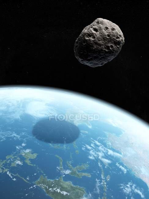 Asteroid approaching Earth — Stock Photo