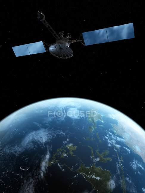 Por satélite sobre a superfície de terra, obras de arte digital. — Fotografia de Stock