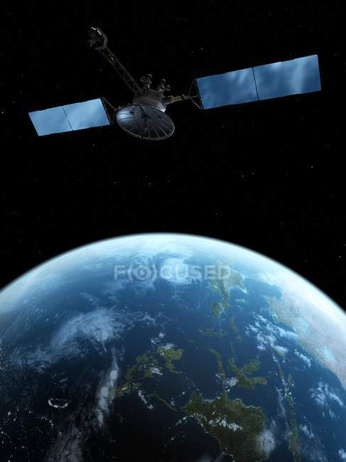 Satellite over Earth surface, digital artwork. — Stock Photo