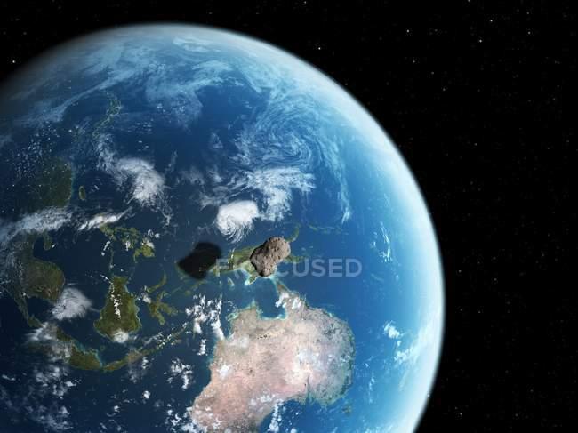 Астероид приближается к Земле — стоковое фото