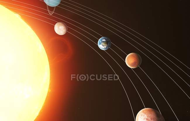 Rendering of solar system — Stock Photo