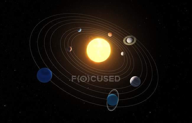 Rendering of solar system — Stock Photo