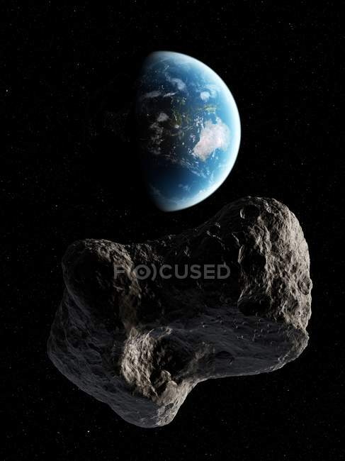 Asteroide acercándose a la Tierra - foto de stock