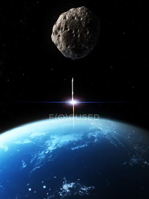 Asteroid defense missile launched at asteroid — Stock Photo