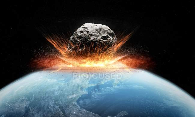 Asteroid impacting Earth — Stock Photo