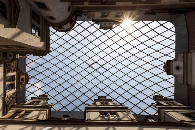 Glass roof of old building with grid pattern. — Stock Photo