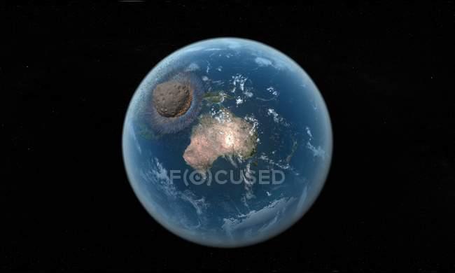 Столкновение астероида с Землей — стоковое фото