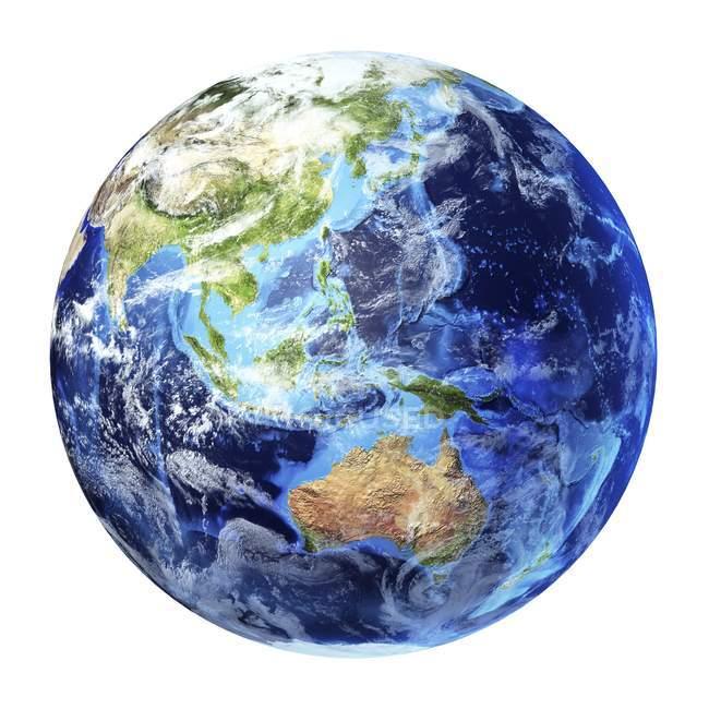 Australasia on Earth globe on white background, digital artwork. — Stock Photo