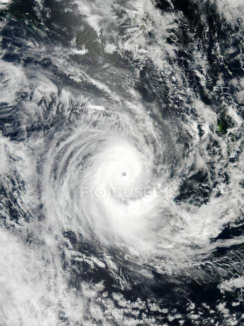 Satellite view of tropical cyclone Erica over New Caledonia. — Stock Photo