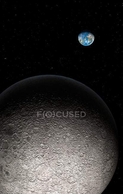 Moon and Earth in distance, digital artwork. — Stock Photo