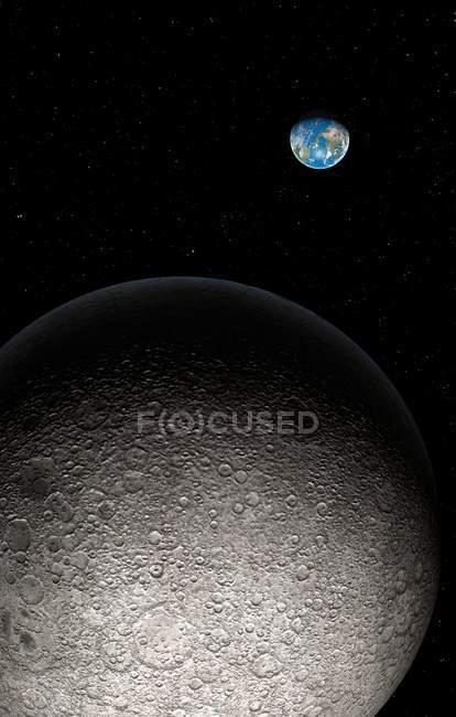 Lua e a terra na distância, obras de arte digital. — Fotografia de Stock
