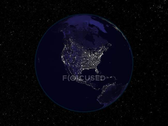 Composite satellite image of lights of North America at night. — Stock Photo
