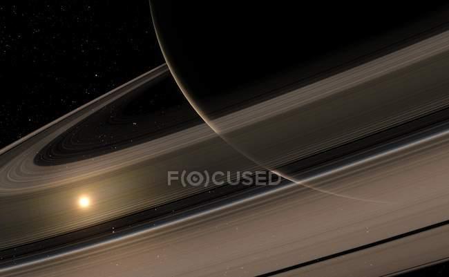 Lado no iluminado de los anillos de Saturno - foto de stock