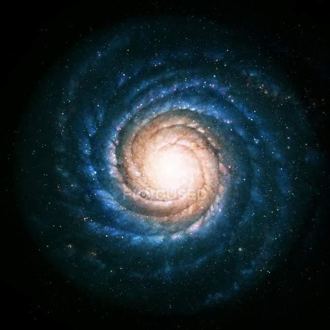 Obra de arte de una galaxia espiral - foto de stock