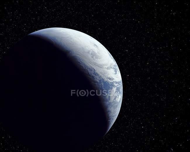 Computergrafik des Planeten Erde im Schatten. — Stockfoto
