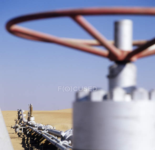 Gas well valve in gas pipeline in desert of United Arab Emirates. — Stock Photo