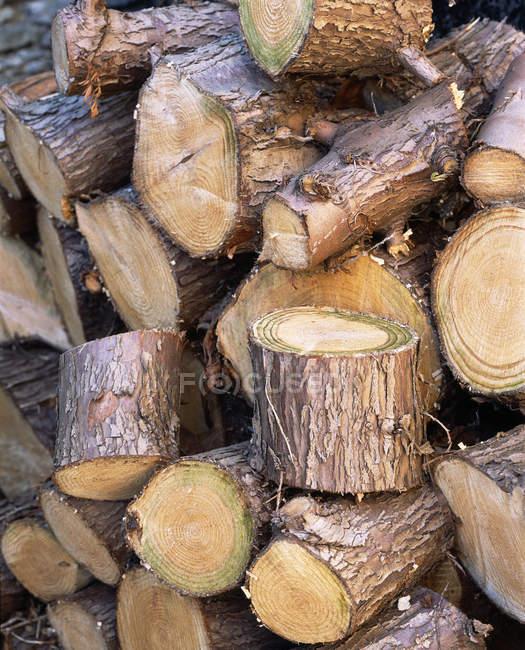 Empilement en bois de grumes hachées, cadre complet . — Photo de stock