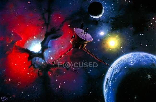 Space probe approaching an Earth-like planet — Stock Photo