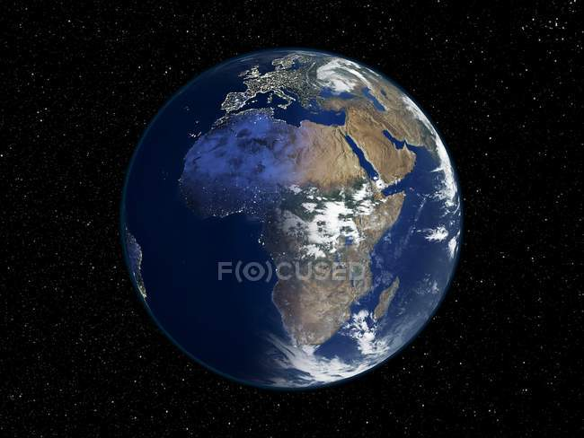 Digital illustration of Earth centered on Africa. — Stock Photo