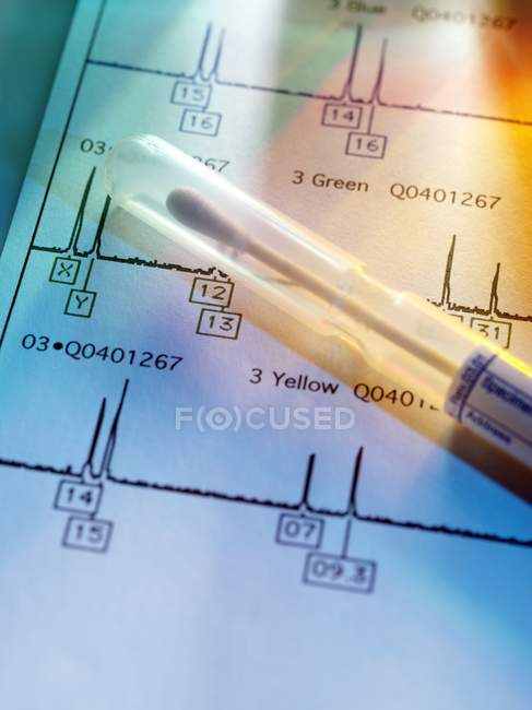 Close-up view of medical sample with genetic test results. — Stock Photo