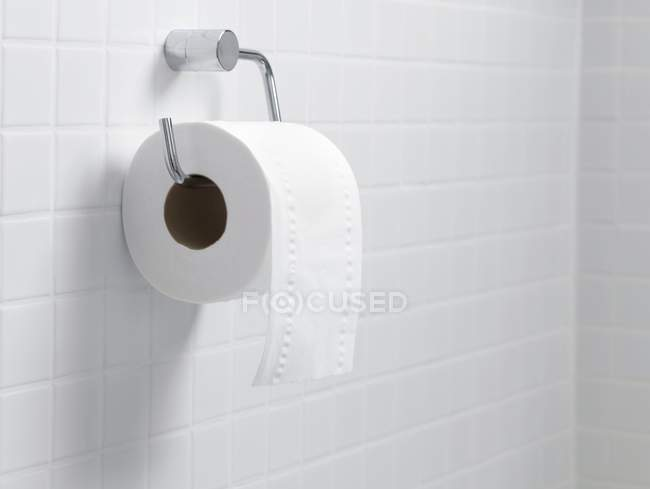 Toilet paper holder and roll. — Stock Photo