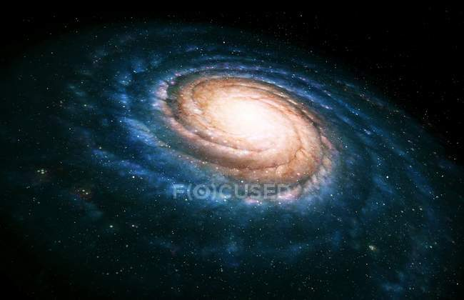 Spiral galaxy seen at an oblique angle — Stock Photo