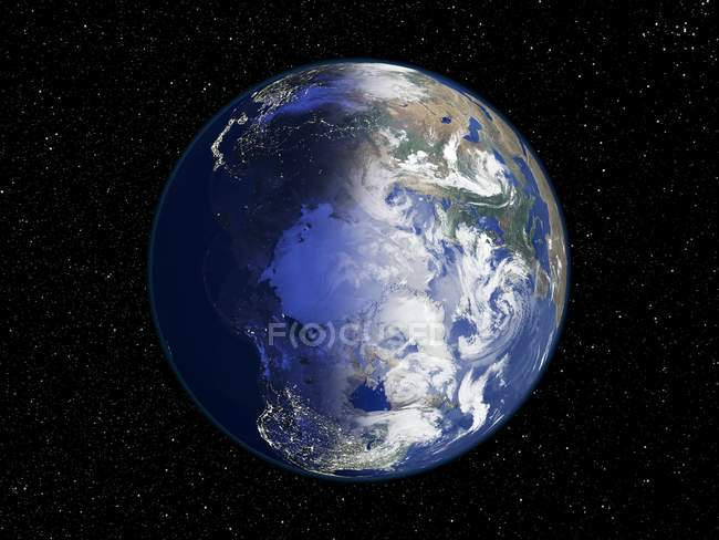 Digital illustration of Earth centered on Arctic. — Stock Photo
