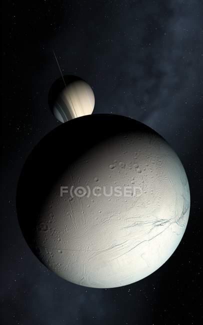 Saturno y Encélado - foto de stock