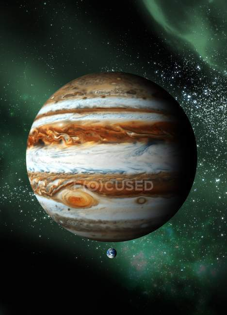 Jupiter  and Earth to scale — Stock Photo