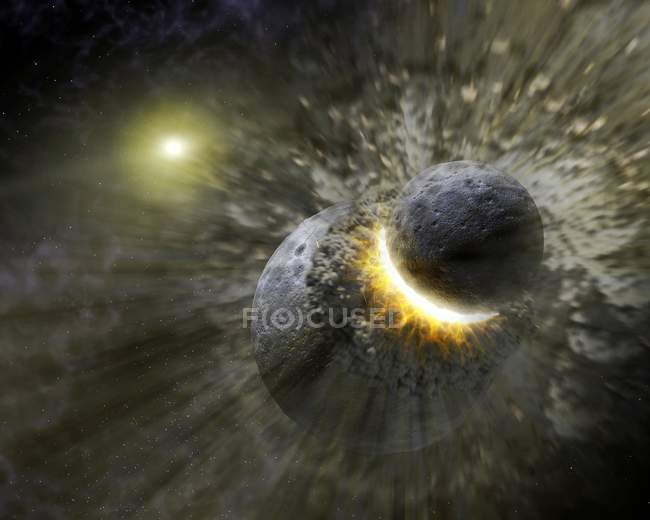 Planets colliding around the star Vega — Stock Photo